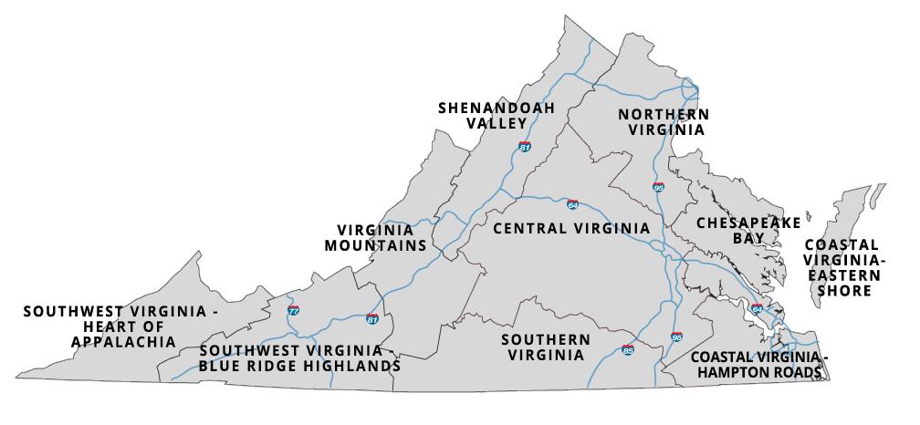 South Va Counties Map